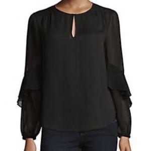 Halston NWOT black sheer blouse